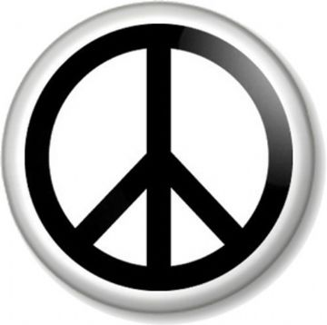 Peace Sign Pinback Button Badge Pacifist Ban the Bomb Symbol Hippie Love - Black on White